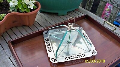 VINTAGE 1930s ART DECO SILVER PLATED GLASS CAKE STAND TRAY ~ QUALITY HEAVY ITEM