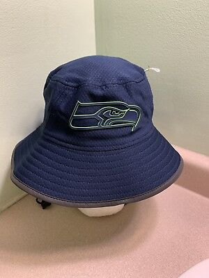 bb69c9750783a SEATTLE SEAHAWKS New Era Bucket Hat 2018 On Field Team Color Training Cap