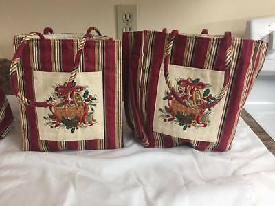 Set of 3 Longaberger Festive Lunch Bags Thanksgiving Christmas Collection Lot Bu