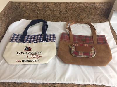 Set of 3 Longaberger Items Wallet Lunch Bag Rare Coin Pouch Plaid Tote Christmas