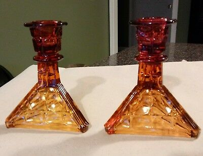 Vtg Art Deco Style * 2--Amber Candle Stick Holders Triangle Base *pressed Glass