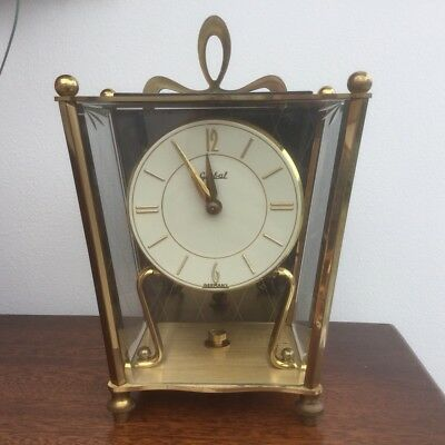 Vintage Global Germany Koma Roma Brass Carriage Clock With Wall Mount