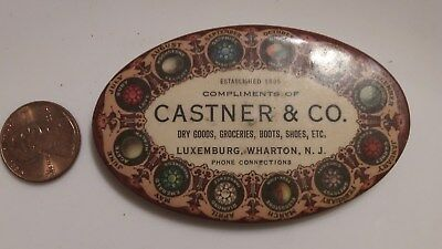 Rare Vintage Advertising Mirror Castner & Company Dry Goods Zodiac Wharton Nj