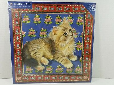 2011 Lesley Anne Ivory 16-month GLITTER Wall Calendar, Ivory Cats, New/Unopened
