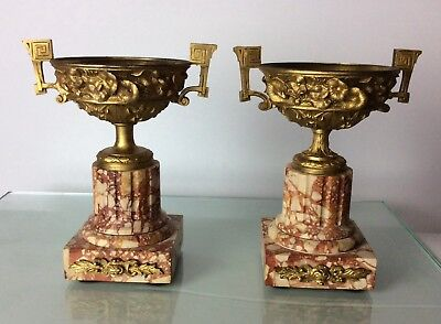 Antique French 19th century gilt bronze urns on marble flints PAIR