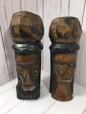 Hand Carved Wood Sculpture African Tribal Art Head Statue Figures Man & Woman