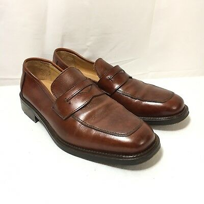 70a2c65c5b7 Mercanti Fiorentini Italy Made Mens 10 Brown Leather Slip On Penny Loafer  Shoes