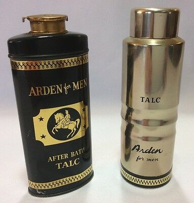 Lot Of 2 Vintage Elizabeth Arden For Men Talcum Powder Tins Talc Metal New York