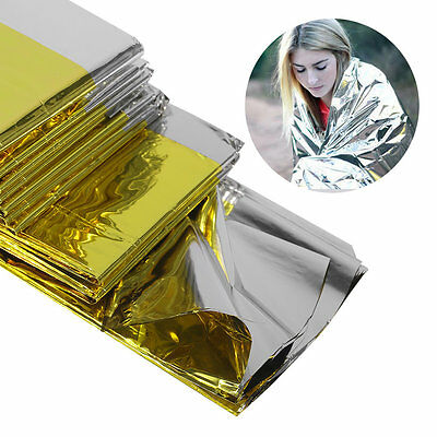 Emergency Blanket Lifesaving Thermal Insulation Sunscreen Blanket Gold Silver C2