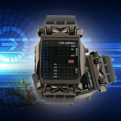 New Unisex Square Style Cool Colorful LED Digital Watch Binary Wrist Black C2