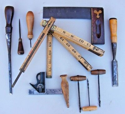 ANTIQUE Lot of 14 Old tool display leather,wheelwright carpenter farm tools