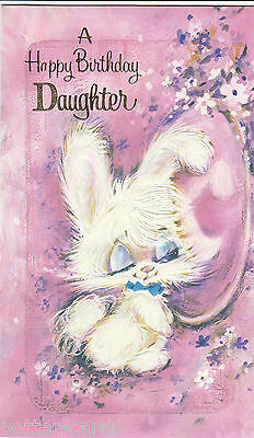 Happy Birthday Daughter Vintage 1970s Greeting Card Cute White Bunny Rabbit