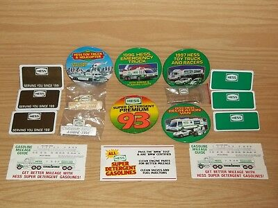 Vintage HESS Oil Gas Station Truck Pin Pinback Buttons & Misc. Access. lot L@@K