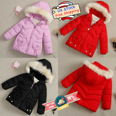 Toddle Baby Girls Kids Winter Warm Outerwear Fur Collar Hoodie Long Sleeve Coat