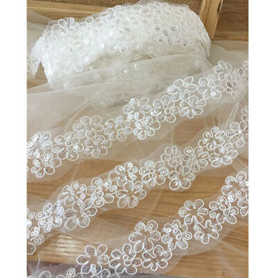 1 Yard  Flower Embroidery Sequins Lace Trim For DIY Bridal Wedding Dress Clothes