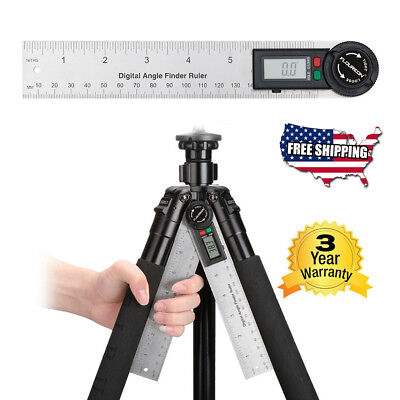 7inch Digital Angle Ruler Stainless Steel Measuring Ruler Protractor Goniometer