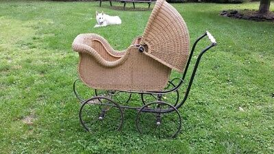 Hahne&Co Newark NJ Antique Adult Baby Carriage Wicker Stroller Buggy Pram
