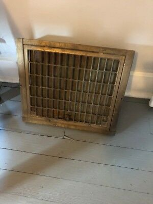 ANTIQUE HEATING GRATE COVER REGISTER VENT FLOOR WALL w LOUVER  15 X 17