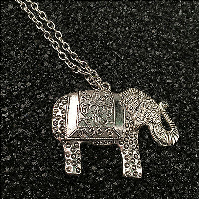 Exquisite 37*49mm Sweater Elephants Pendant Silver Chain Necklace For Women