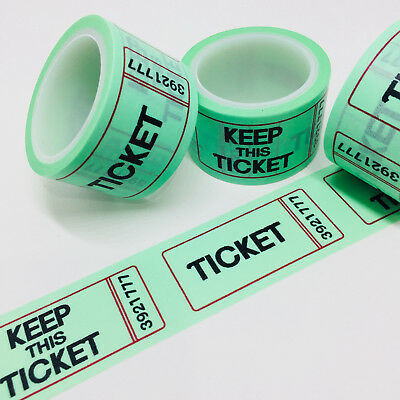 Washi Tape Wide Keep This Ticket Mint 24Mm X 5Mtrs Craft Wrap Planner Mail Art