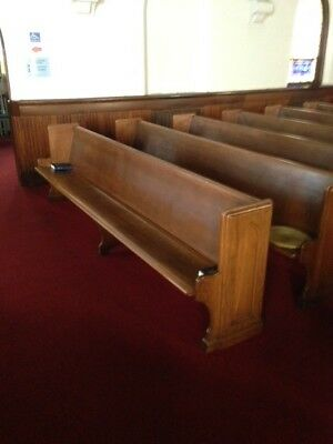 Antique Church Pew Oak Wood Old Curved Bench Seat 11' 10""