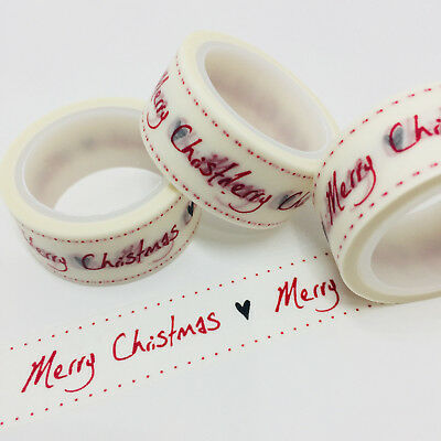 Washi Tape Wide Merry Christmas & Heart 20Mm X 5Mtrs Craft Wrap Planner Mail Art