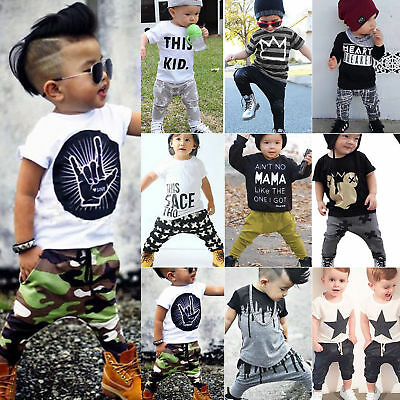 US Toddler Kids Baby Boy T-shirt Tops Tee Harem Pants Sports Outfits Set Clothes