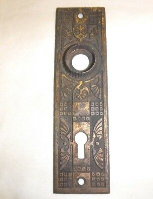 Antique Russell & Erwin Solid Brass Ornate Door Backplate
