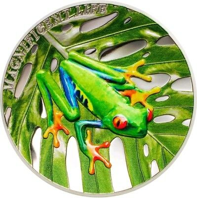 2018 1 Oz PROOF Silver Cook Island 5$ TREE FROG Magnificent Life Coin.