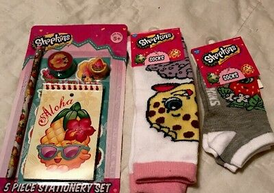 Shopkins Girls Socks Two Pair And 5 Piece Stationery Set