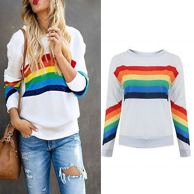 Womens Rainbow T-Shirt Tops Sweatshirt Jumper Sweater Pullover Blouse Hoodies US