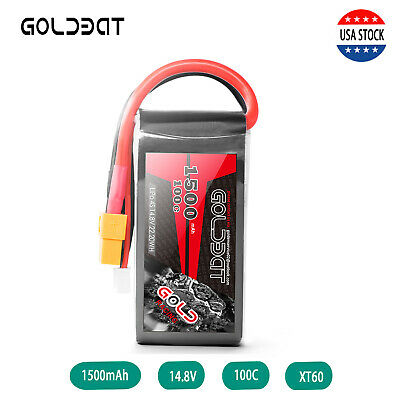 GOLDBAT 1500mAh 100C 14.8V 4S LiPo Battery Pack XT60 Plug for RC FPV Quad Drone