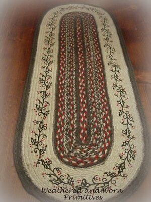 "Primitive Farmhouse Jute Christmas Table Runner with Holly & Berries 36"" x 13"""