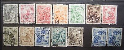 Yugoslavia - Early 1950,s Economy Stamps, Selection 14 Good Used Stamps.