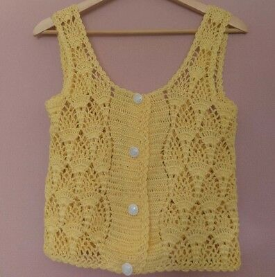 VINTAGE 90s Boho Grunge Yellow Crochet Knit Cropped Crop Top Vest - M 10 12