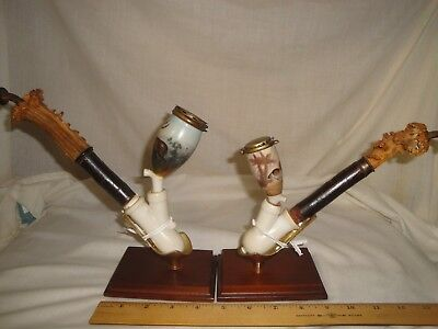Pair Of Vintage Antique Bavaria German Porcelain Pipe Fritzsche And Thein