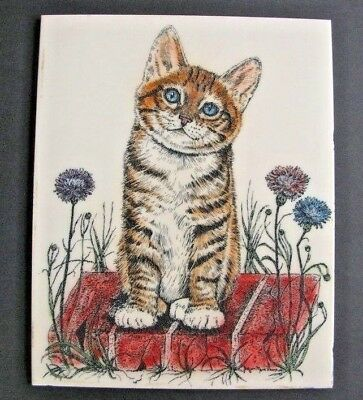 8 x 10 ginger tiger cat kitten plaque Jacquie Vaux very detailed & colorful