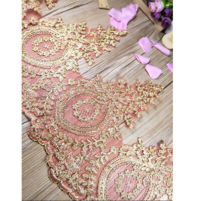 Flower Embroidery Red Gold Lace Trim For Bridal Veil Wedding Dress Clothes Decor