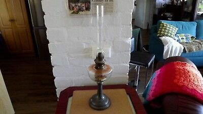 "Antique Kerosene Light, 21"" High To Top Of Chimney."