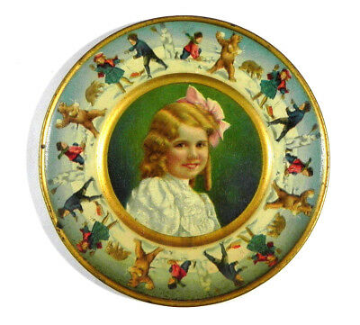 Antique Union Pacific Tea Advertising Christmas Tin Plate Christmas 1907 snowman