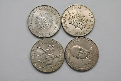 Gibraltar & Isle Of Man + Uk Crown Size Coins A98 Xp5