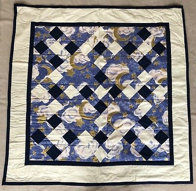 Handmade Patchwork Quilt | moons and stars in blue, navy, gold, cream