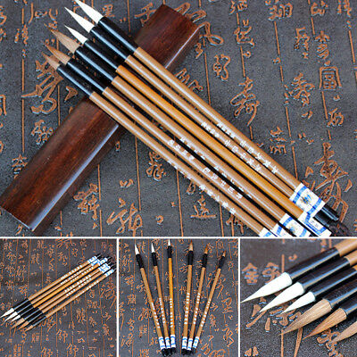 6x Brush Writing Pen Watercolor Ink Painting Traditional Chinese Calligraphy Set