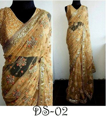 Indian Bollywood Wedding Embroidery Heavy Sequin Net Saree Sari Party Wear Dress