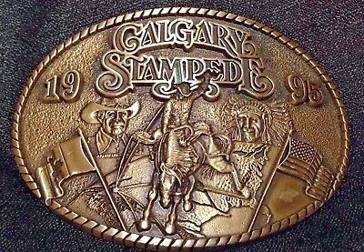 1995 Calgary STAMPEDE BELT BUCKLE Limited Edition Solid Brass Centennial Series