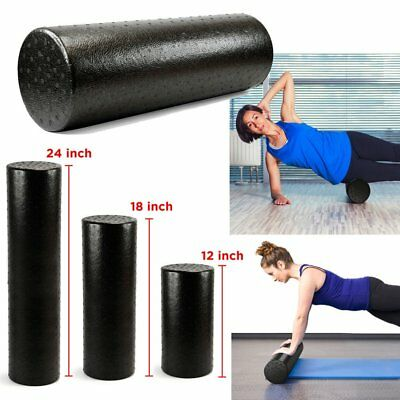 12/18/24 Inch High-Density Round Foam Roller Black For Yoga Exercise Massage TW