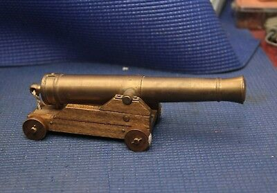 Vintage Brass Barrel Cannon, Black Powder Cannon, Naval Signaling Wood Carriage