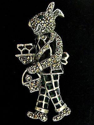 Sterling Silver French inspired stained Glass Rabbit Waiter Pendant and Brooch