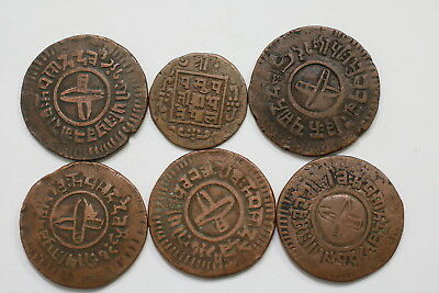 Nepal Many Copper Coins Lot Nice Details A98 Wg25