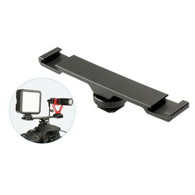 HK- Double Cold Hot Shoe Mount Extension Camera Microphone Flash Light Bracket R